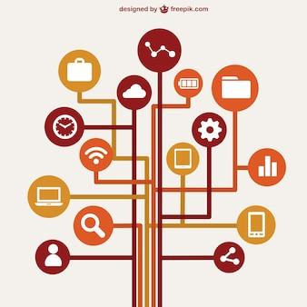Concepto infografía Red de ordenadores