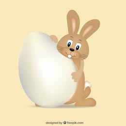 Conejito marrón con huevo de pascua