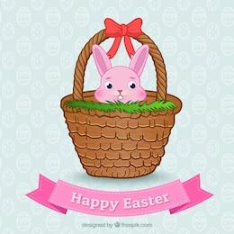 Conejo de Pascua en una cesta