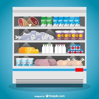 Congelador de alimentos en el supermercado