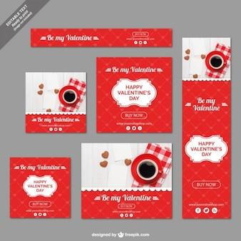 Conjunto banners del Día de San Valentín