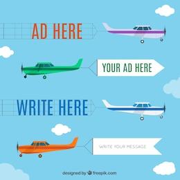 Conjunto de anuncios de aviones en dibujos animados
