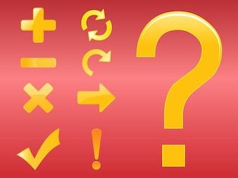 Conjunto de aritmética y los iconos de interrogación