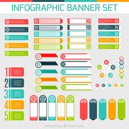 Conjunto de banners de infografía