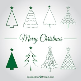 Conjunto de bocetos de árboles de Navidad