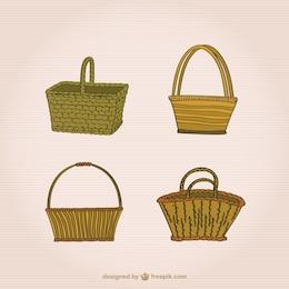 Conjunto de cestas de mimbre