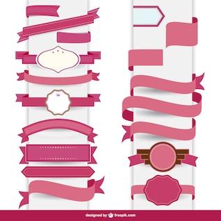 Conjunto de cintas rosas