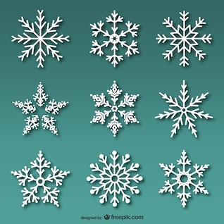 Conjunto de copos de nieve blancos