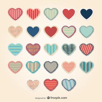 Conjunto de corazones con estampados