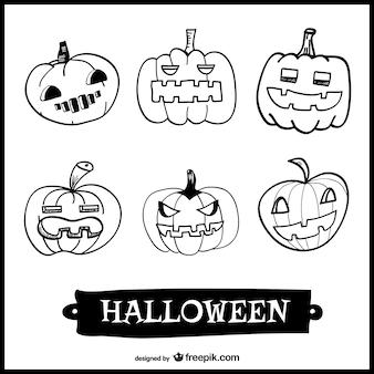 Conjunto de dibujos de calabazas de halloween