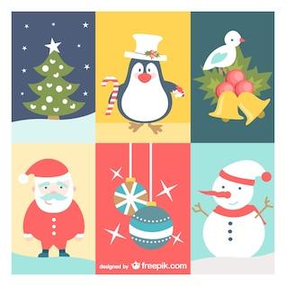 Conjunto de dibujos de Navidad vintage