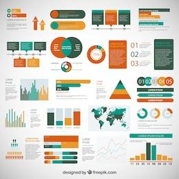Conjunto de elementos infográficos