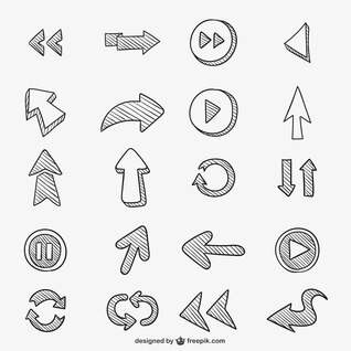 Conjunto de flechas garabateadas