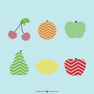 Conjunto de frutas con líneas
