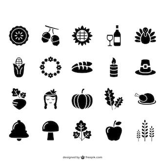Conjunto de iconos de acción de gracias y otoño