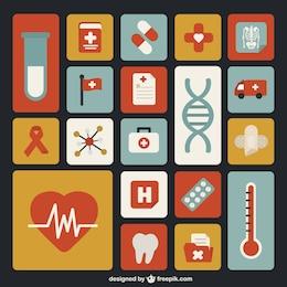 Conjunto de iconos de medicina a color