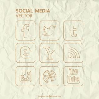 Conjunto de iconos de redes sociales dibujados a mano