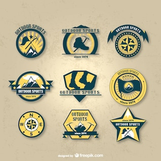 Conjunto de insignias de deportes al aire libre