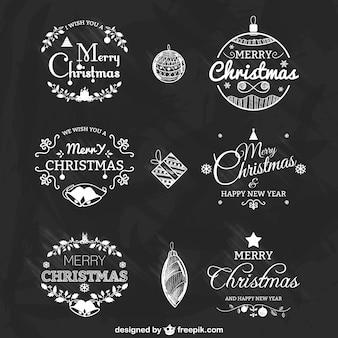 Conjunto de insignias de Navidad en blanco y negro