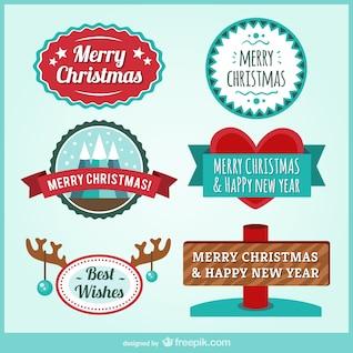 Conjunto de insignias de Navidad vintage