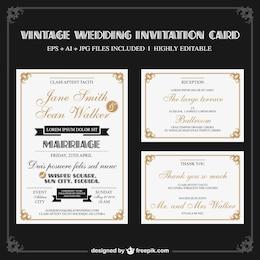 Conjunto de invitaciones de boda vintage