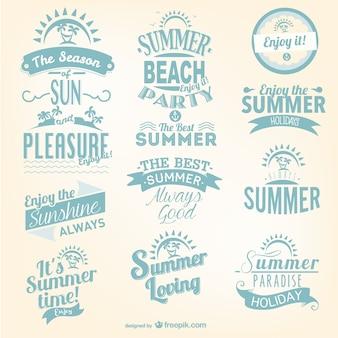 Conjunto de logos de verano