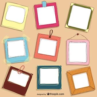 Conjunto de marcos de colores dibujados a mano