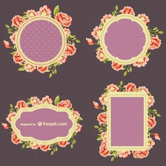 Conjunto de marcos de flores