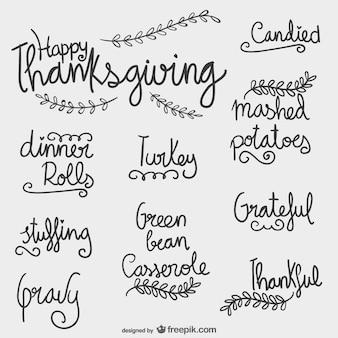 Conjunto de rótulos de Acción de Gracias