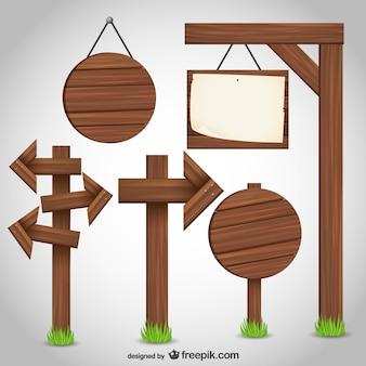 Conjunto de signos de madera