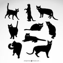 Conjunto de siluetas de gato negro