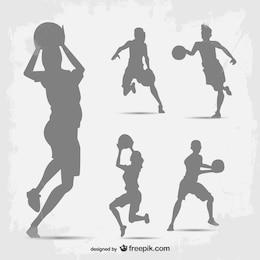 Conjunto de siluetas de jugadores de baloncesto