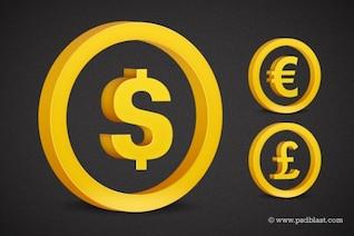 Conjunto de símbolos de moneda de oro psd