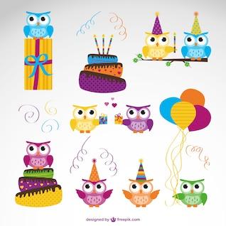 Conjunto de vectores de búhos de cumpleaños