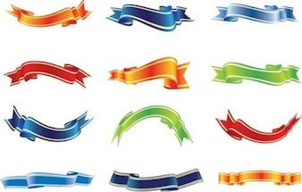 Conjunto de vectores de cintas de colores
