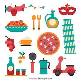 Conjunto de vectores de comida italiana