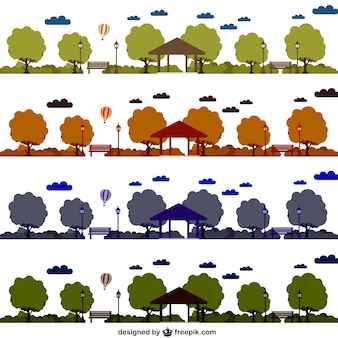 Conjunto de vectores de parques en distintos colores