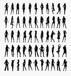 conjunto de vectores de siluetas de mujer