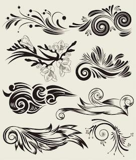 conjunto de vectores gratis de hermosos elementos florales