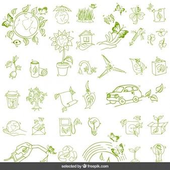 Conjunto verde medio ambiente