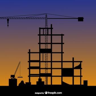 Vector silueta de construcción de edificios