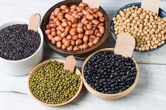 Containers with different legumes