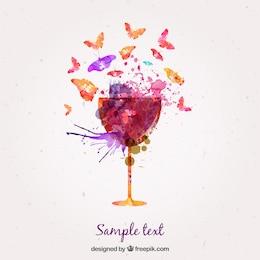 Copa de vino y mariposas de acuarela