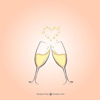 Copas de champán con corazón