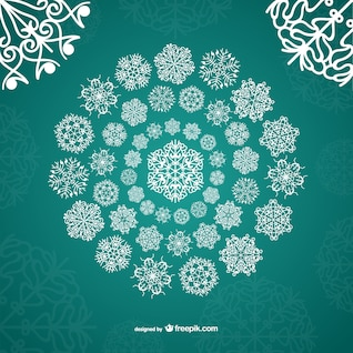 Copos de nieve ornamentales blancos
