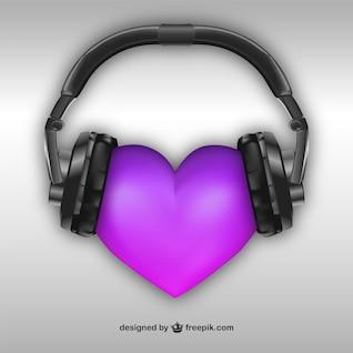 Corazón 3D con auriculares