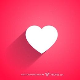 Corazón blanco plana para el Día de San Valentín