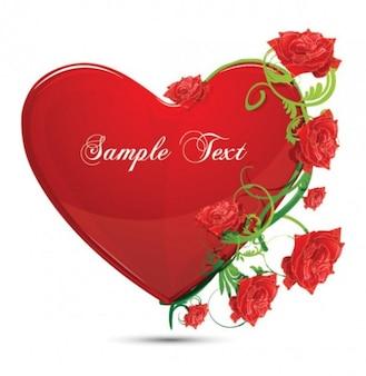 corazón brillante color rojo y rosa vector