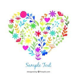 Corazón de acuarela hecho de flores