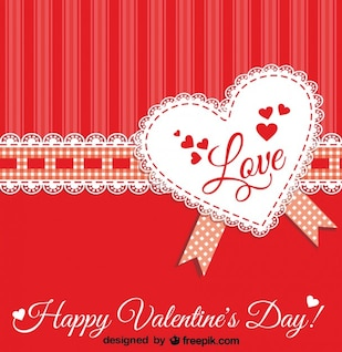 Corazón de encaje con cinta para San Valentín